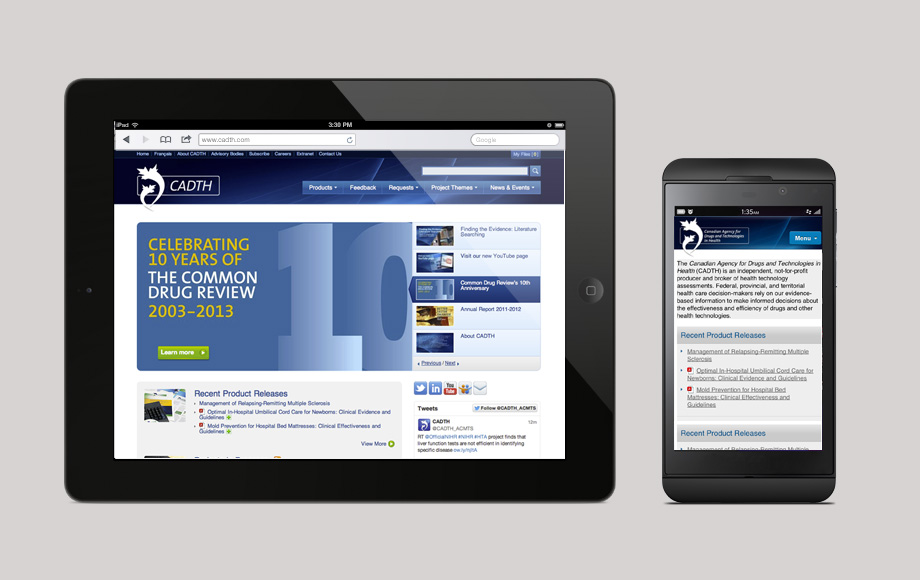 76design has been working alongside Canadian Agency for Drugs and Technology in Health (CADTH) for over a decade, building, maintaining and upgrading their website. CADTH provides decision-makers with the evidence, analysis, advice, and recommendations they require to make informed decisions in health care.  The most popular tool we have built for them is the Common Drug Review (CDR), which is a customized, searchable online database for drug adoption for the Canadian Pharmaceutical industry.