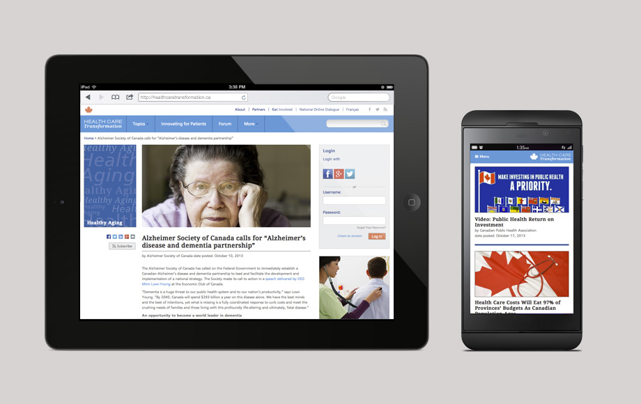 The Canadian Medical Association wanted to create a unifying point of online discussion about health care issues among Canada's general public, those who are interested in health care on a personal level but who are not engaged in the health care system. 76 designed a site to get Canadians talking about health care transformation by publishing an online magazine that is optimized for search, social sharing and conversation. 